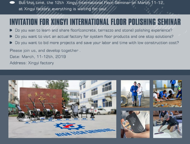 Invitation for xingyi international floor polishing seminar